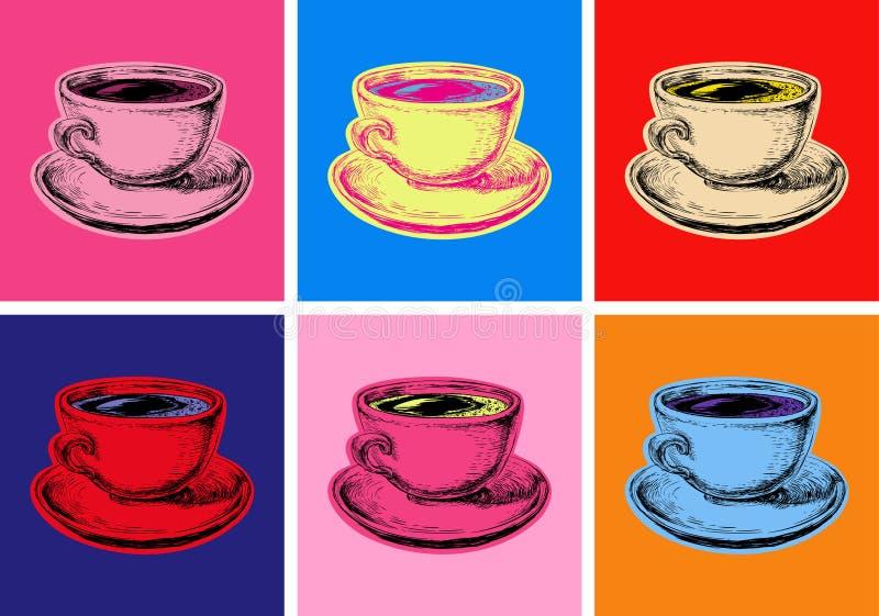 Καθορισμένο καφέ κουπών διανυσματικό ύφος τέχνης απεικόνισης λαϊκό διανυσματική απεικόνιση