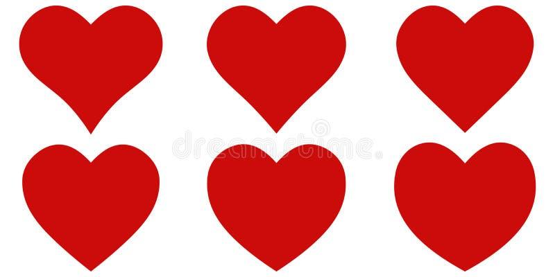 Καθορισμένο κόκκινο εικονίδιο καρδιών μορφής, διανυσματική καθορισμένη μορφή καρδιών, εραστές την ημέρα βαλεντίνων απεικόνιση αποθεμάτων