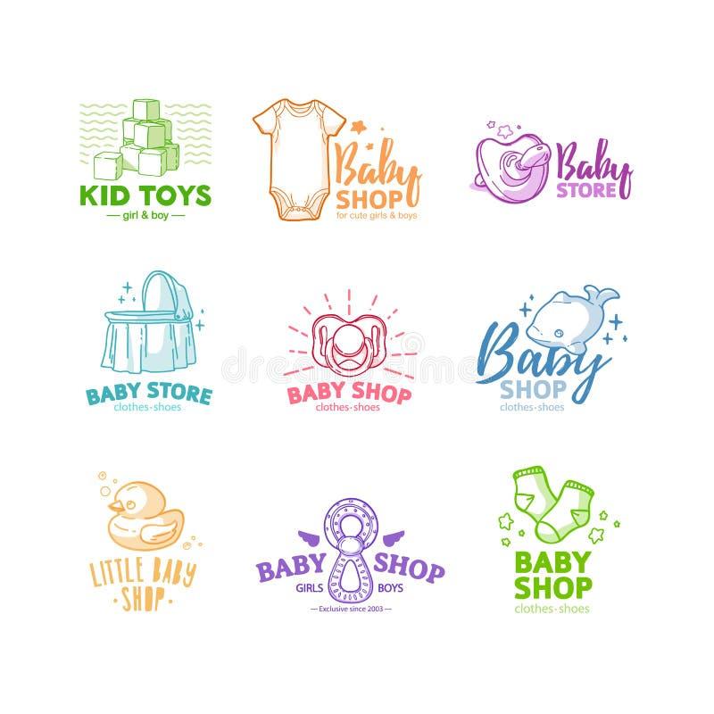 Καθορισμένο λογότυπο γραμμών σχεδίου templae για το κατάστημα μωρών Σύμβολο, ετικέτα και διακριτικό για το κατάστημα παιδιών με τ ελεύθερη απεικόνιση δικαιώματος