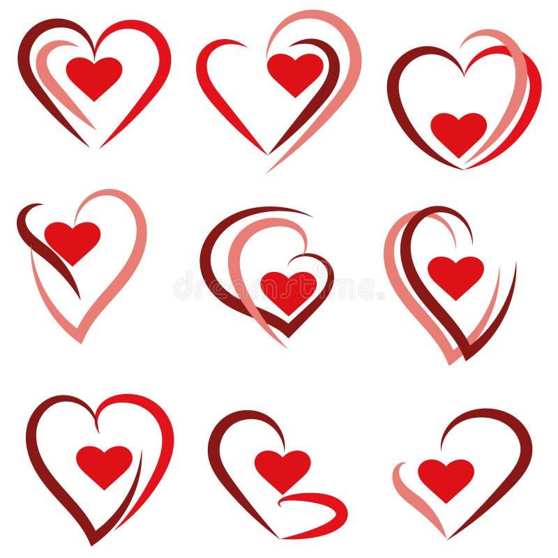 Καθορισμένο λογότυπο καρδιών - διάνυσμα διανυσματική απεικόνιση