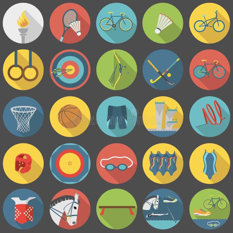 Καθορισμένο μέρος 2 εικονιδίων θερινού ολυμπιακό αθλητισμού επίπεδο διανυσματική απεικόνιση