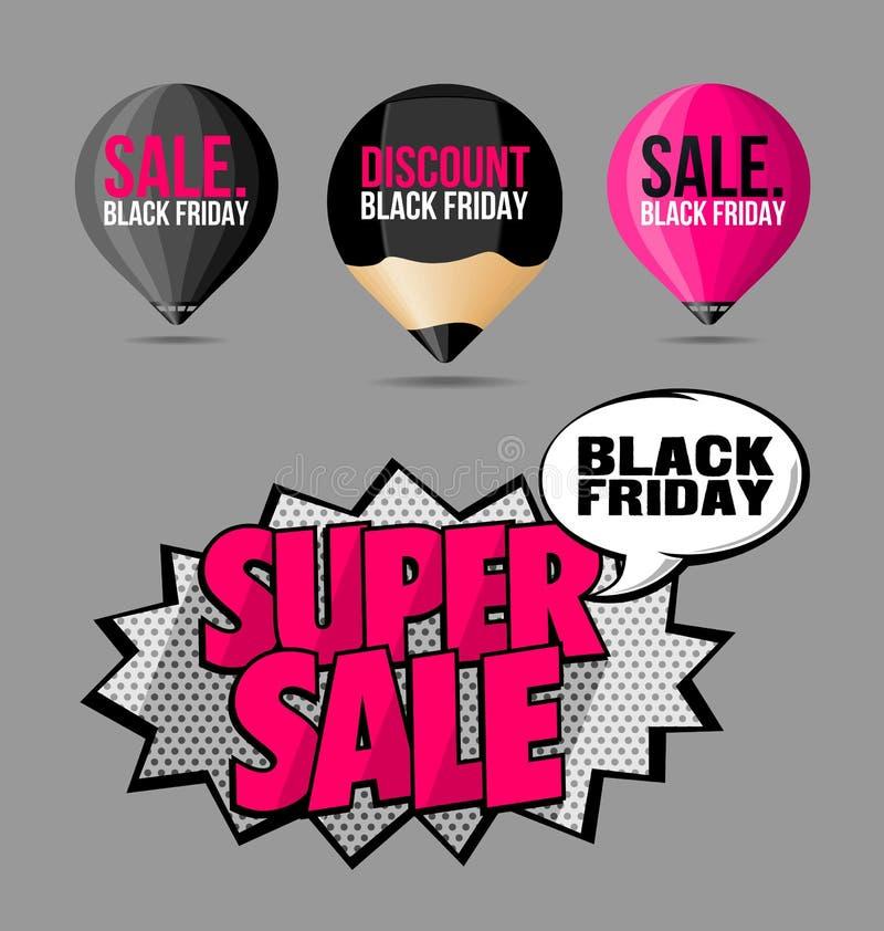 Καθορισμένο μαύρο φθορισμού ροζ αυτοκόλλητων ετικεττών και ετικετών πώλησης Παρασκευής διανυσματική απεικόνιση