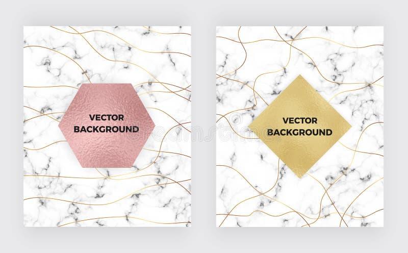 Καθορισμένο μινιμαλιστικό άσπρο μάρμαρο με τις χρυσές γραμμές και τη σύσταση φύλλων αλουμινίου Πρότυπα κάλυψης πολυτέλειας Σχέδιο ελεύθερη απεικόνιση δικαιώματος