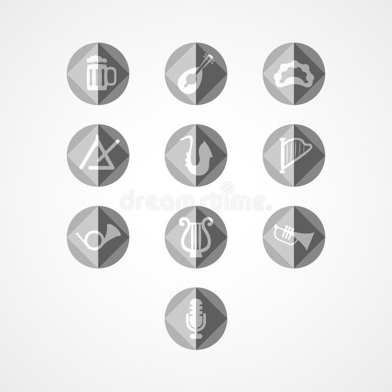 Καθορισμένο μουσικό εικονίδιο Ιστού οργάνων ελεύθερη απεικόνιση δικαιώματος
