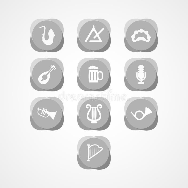 Καθορισμένο μουσικό εικονίδιο Ιστού οργάνων απεικόνιση αποθεμάτων