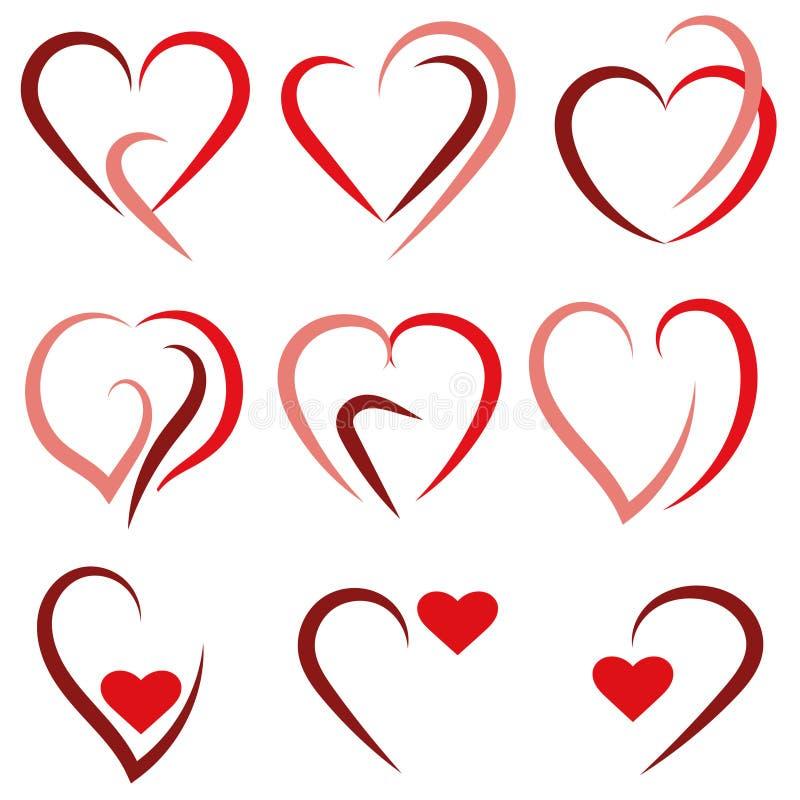 Καθορισμένο λογότυπο καρδιών - διάνυσμα ελεύθερη απεικόνιση δικαιώματος