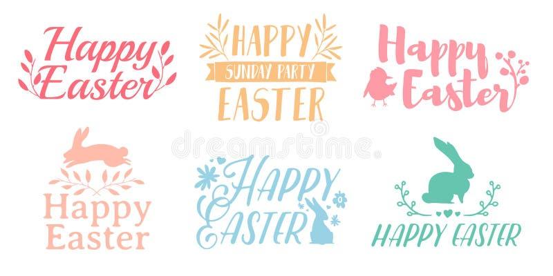 Καθορισμένο λογότυπο χρώματος κρητιδογραφιών για Πάσχα Διακριτικά για τις διακοπές άνοιξη Πάσχας Το σχέδιο της ετικέτας με ένα ντ στοκ εικόνες με δικαίωμα ελεύθερης χρήσης