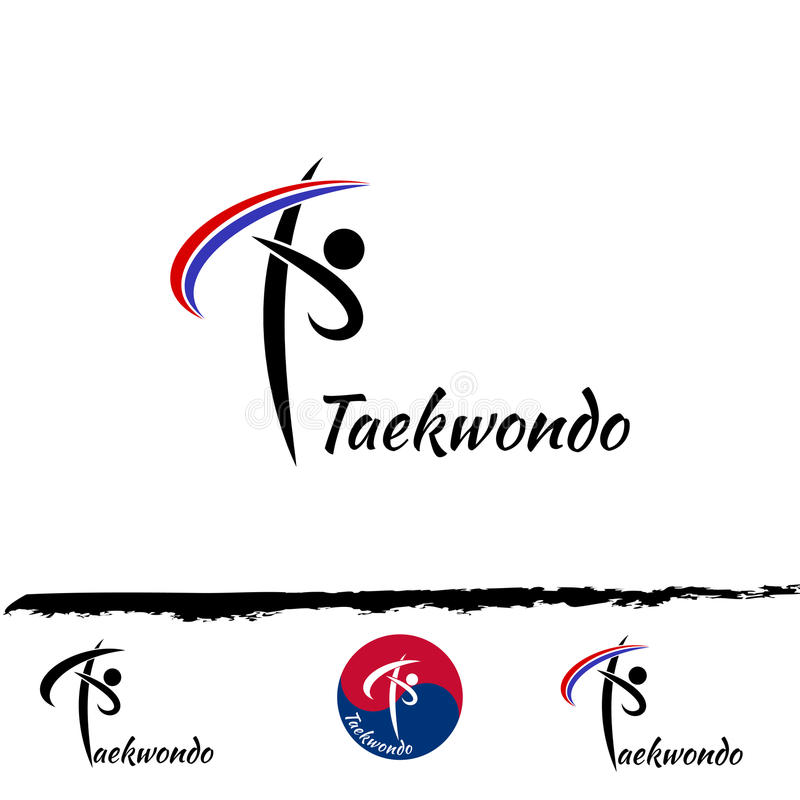 Καθορισμένο λογότυπο taekwondo διανυσματική απεικόνιση