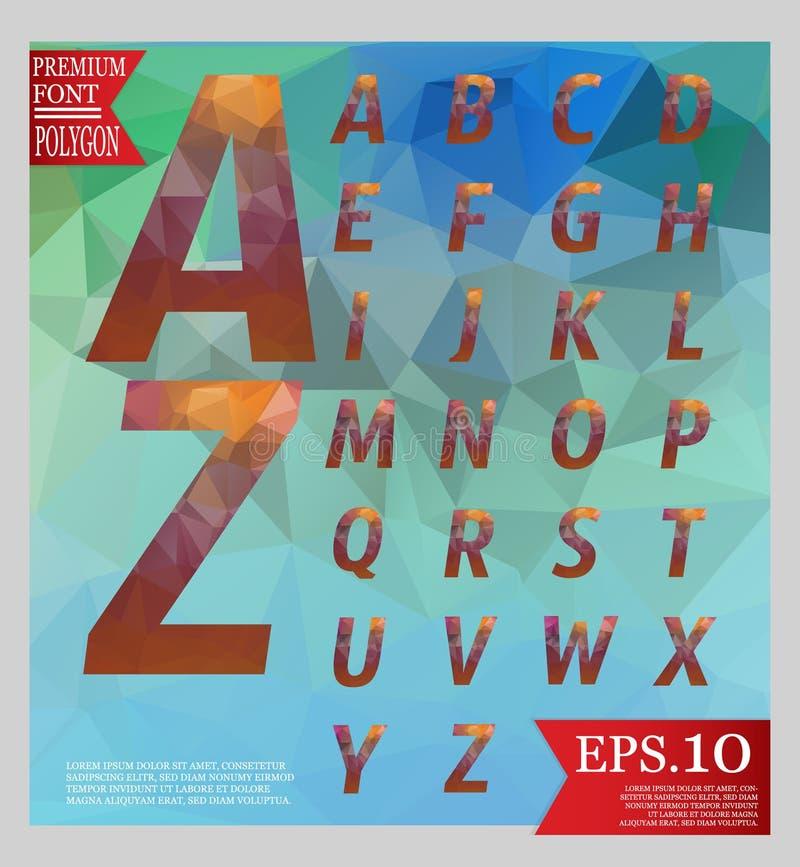 Καθορισμένο πηγών χαμηλό πολυ σχεδίου ύφους χρώμα και backgrou αλφάβητου πολυ διανυσματική απεικόνιση