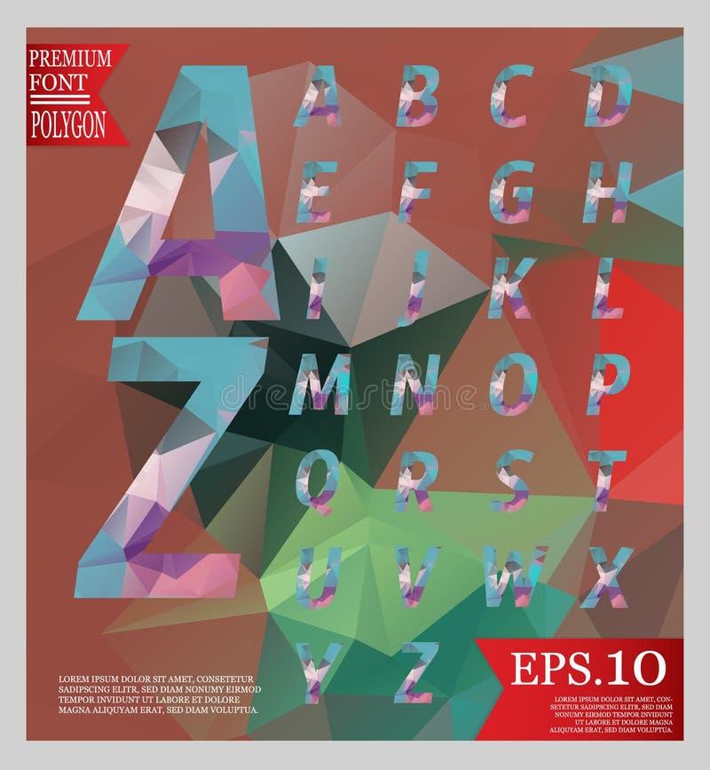 Καθορισμένο πολυ χρώμα αλφάβητου ύφους σχεδίου πηγών χαμηλό πολυ απεικόνιση αποθεμάτων