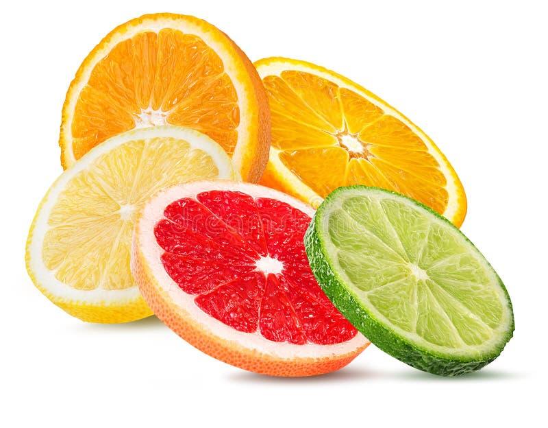 Καθορισμένο πορτοκάλι εσπεριδοειδούς, γκρέιπφρουτ, ασβέστης, λεμόνι που απομονώνεται στο λευκό στοκ φωτογραφίες με δικαίωμα ελεύθερης χρήσης