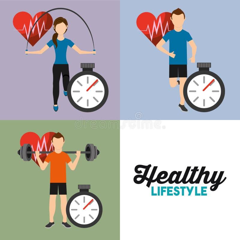 Καθορισμένο ποσοστό αθλητικών αθλητικό καρδιών ανθρώπων και υγιής τρόπος ζωής χρονομέτρων διανυσματική απεικόνιση