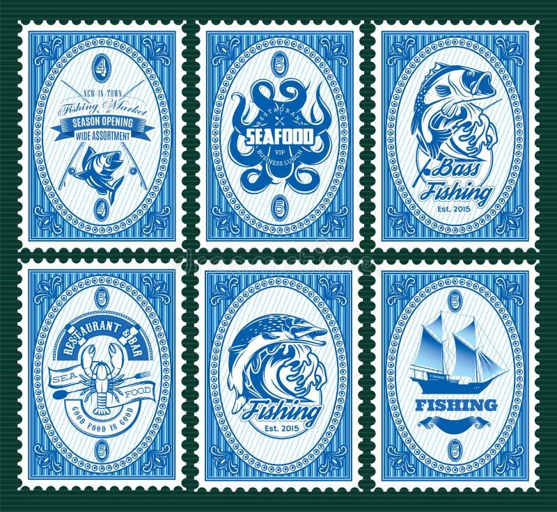 Καθορισμένο πρότυπο των γραμματοσήμων με τα στοιχεία που αλιεύουν, θαλασσινά ελεύθερη απεικόνιση δικαιώματος