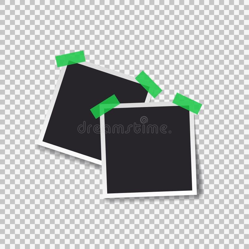 Καθορισμένο πρότυπο φωτογραφιών Polaroid μαύρο κενό ελεύθερη απεικόνιση δικαιώματος