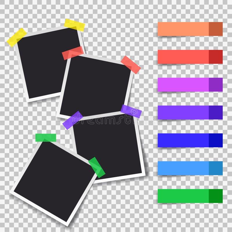 Καθορισμένο πρότυπο φωτογραφιών Polaroid μαύρο κενό διανυσματική απεικόνιση