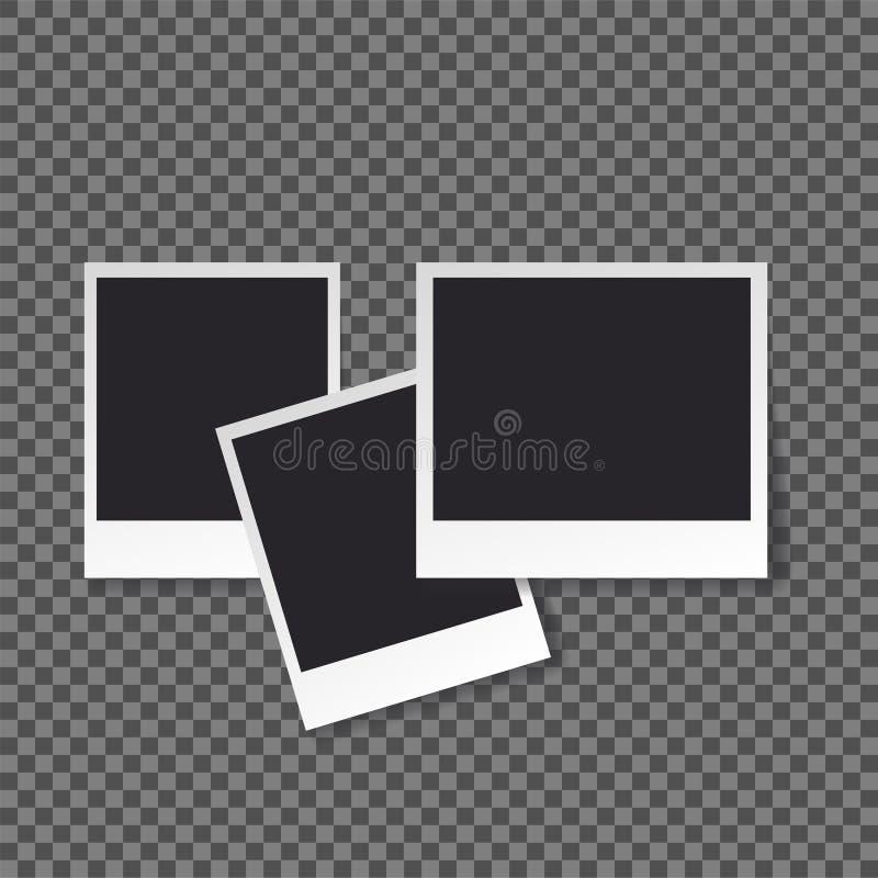 Καθορισμένο πρότυπο φωτογραφιών Polaroid μαύρο κενό απεικόνιση αποθεμάτων
