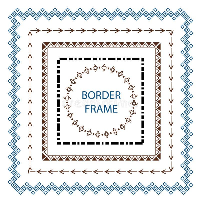 Καθορισμένο στοιχείο σχεδίου συνόρων και κακογραφίας Συρμένη χέρι διανυσματική γραμμή ελεύθερη απεικόνιση δικαιώματος