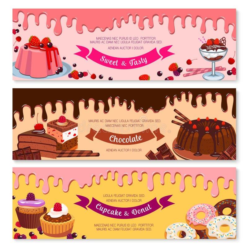 Καθορισμένο σχέδιο εμβλημάτων επιδορπίων και παγωτού κέικ απεικόνιση αποθεμάτων