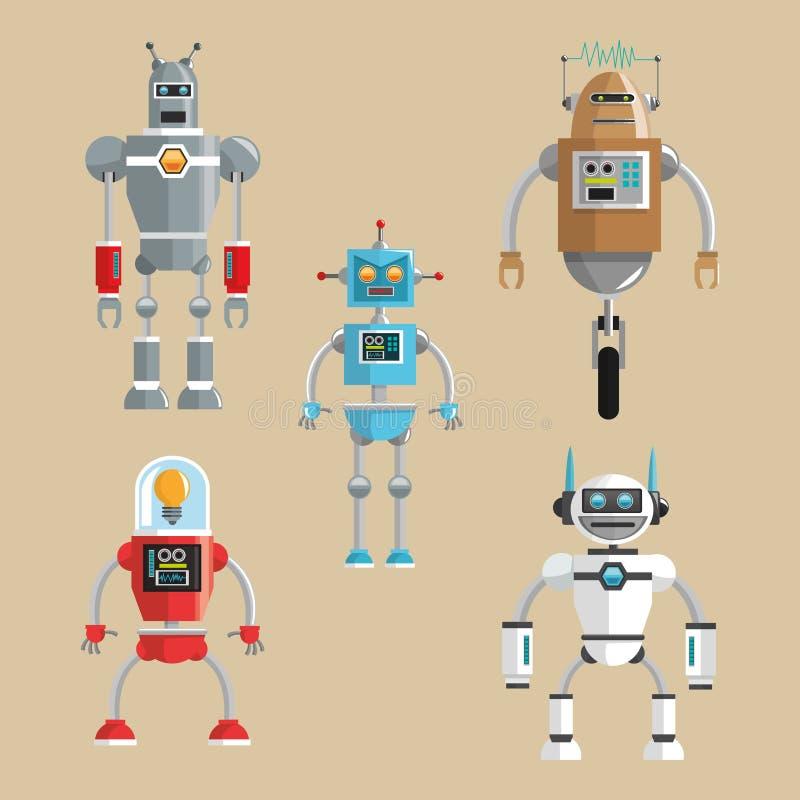 Καθορισμένο σχέδιο ρομπότ απομονωμένο έννοια λευκό τεχνολογίας εικονίδιο humanoid