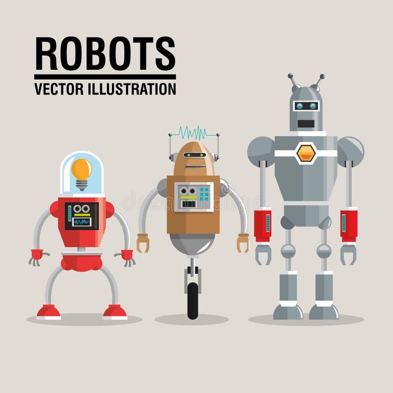Καθορισμένο σχέδιο ρομπότ απομονωμένο έννοια λευκό τεχνολογίας εικονίδιο humanoid διανυσματική απεικόνιση