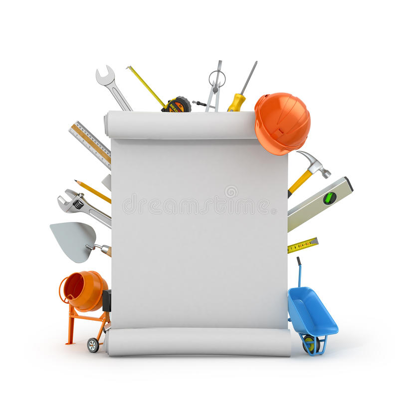 Καθορισμένο σχέδιο συνελεύσεων εργαλείων οικοδόμησης vokrung διανυσματική απεικόνιση