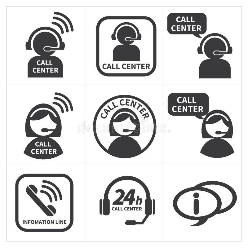 Καθορισμένο τηλεφωνικό κέντρο εικονιδίων διανυσματική απεικόνιση