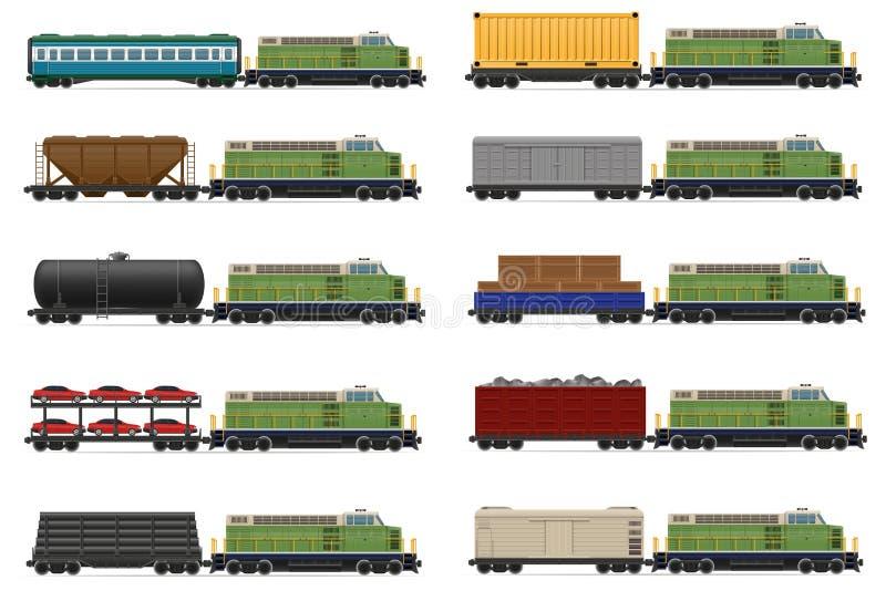 Καθορισμένο τραίνο σιδηροδρόμων εικονιδίων με την ατμομηχανή και το διάνυσμα βαγονιών εμπορευμάτων illust ελεύθερη απεικόνιση δικαιώματος