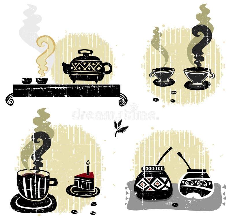 καθορισμένο τσάι συντρόφων ποτών καφέ απεικόνιση αποθεμάτων