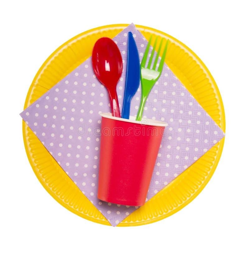 Καθορισμένο φωτεινότερο μίας χρήσης επιτραπέζιο σκεύος στο άσπρο υπόβαθρο στοκ εικόνα