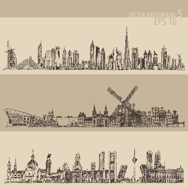Καθορισμένο χαραγμένο τρύγος σκίτσο του Ντουμπάι Μαδρίτη Άμστερνταμ απεικόνιση αποθεμάτων