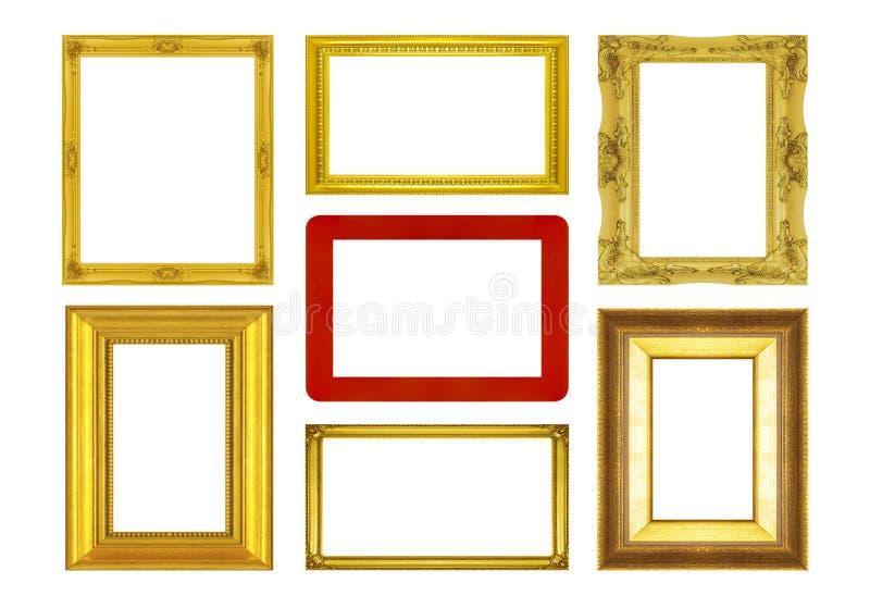 Καθορισμένο χρυσό κόκκινο πλαίσιο frameand που απομονώνεται στο άσπρο υπόβαθρο στοκ εικόνα
