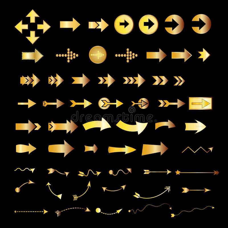 Καθορισμένο χρυσό χρώμα εικονιδίων σημαδιών βελών στο μαύρο υπόβαθρο απεικόνιση αποθεμάτων
