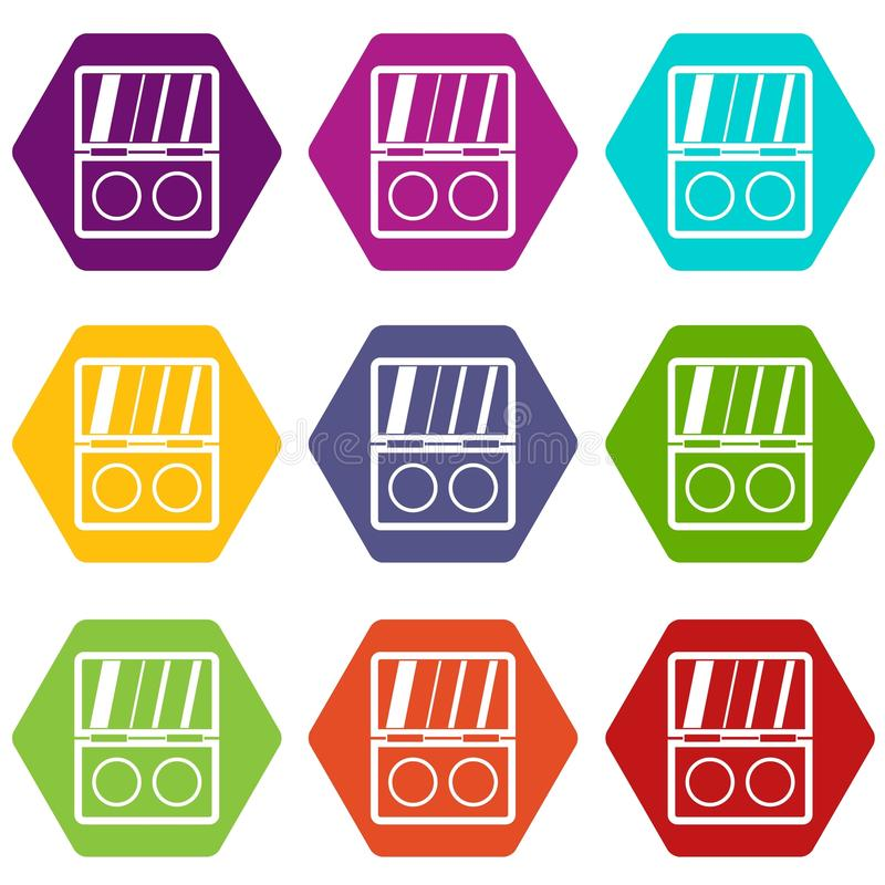 Καθορισμένο χρώμα εικονιδίων εξαρτήσεων σκιών hexahedron απεικόνιση αποθεμάτων