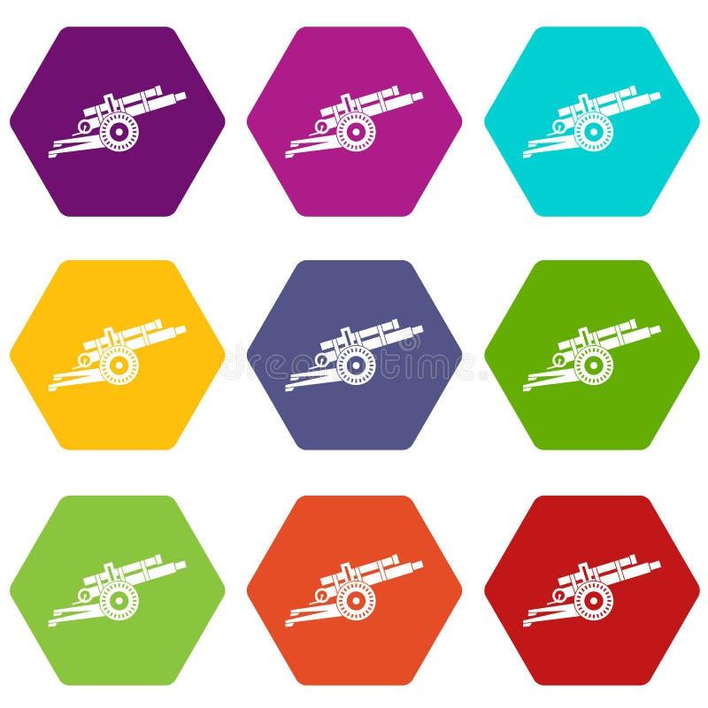 Καθορισμένο χρώμα εικονιδίων πυροβόλων όπλων πυροβολικού hexahedron απεικόνιση αποθεμάτων