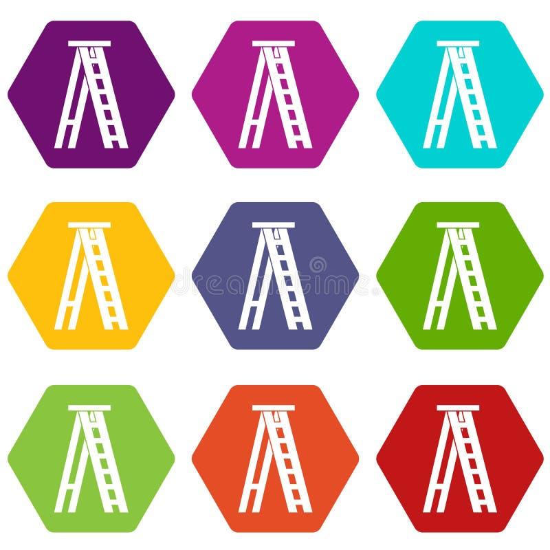 Καθορισμένο χρώμα εικονιδίων Stepladder hexahedron διανυσματική απεικόνιση