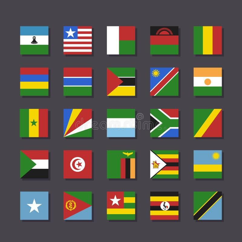 Καθορισμένο ύφος μετρό εικονιδίων σημαιών της Αφρικής ελεύθερη απεικόνιση δικαιώματος