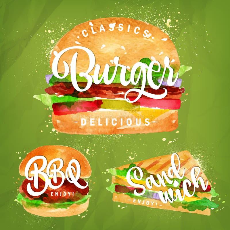 Καθορισμένο Burger πράσινο διανυσματική απεικόνιση