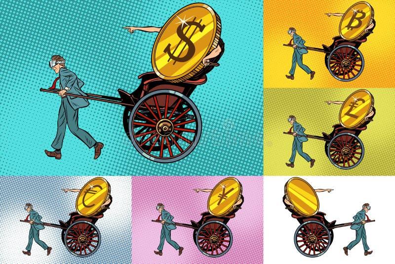 Καθορισμένο cryptocurrency μεταφοράς, bitcoin δολάριο και άλλα χρήματα διανυσματική απεικόνιση