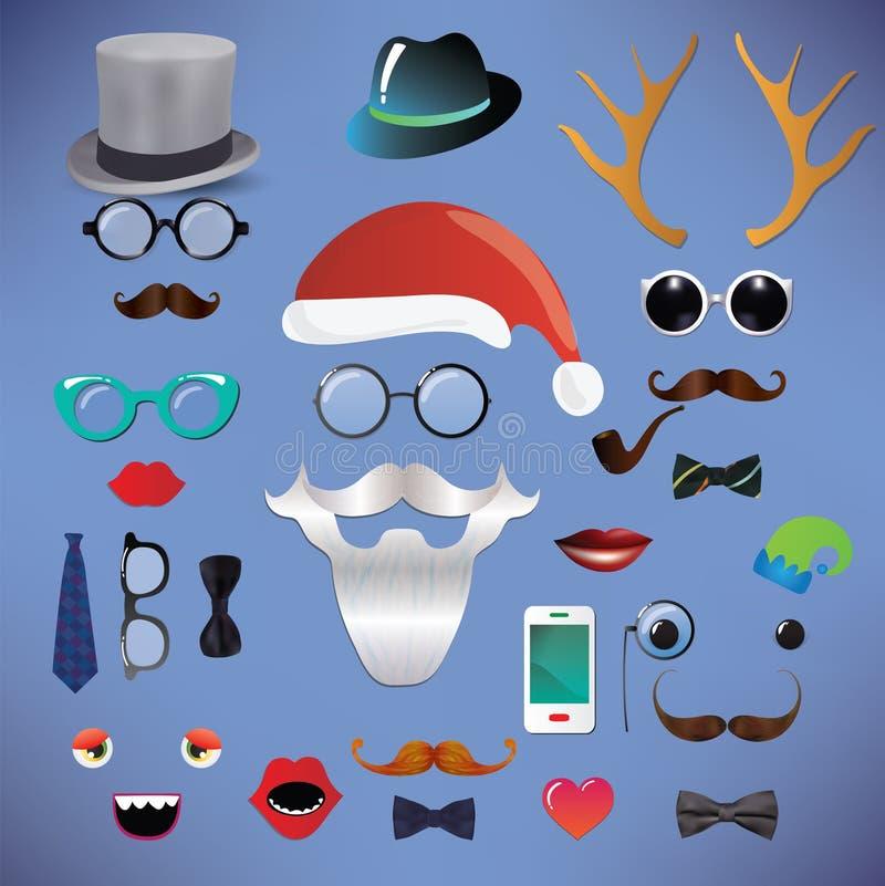 Καθορισμένο hipster σκιαγραφία ύφος μόδας Χριστουγέννων διανυσματική απεικόνιση