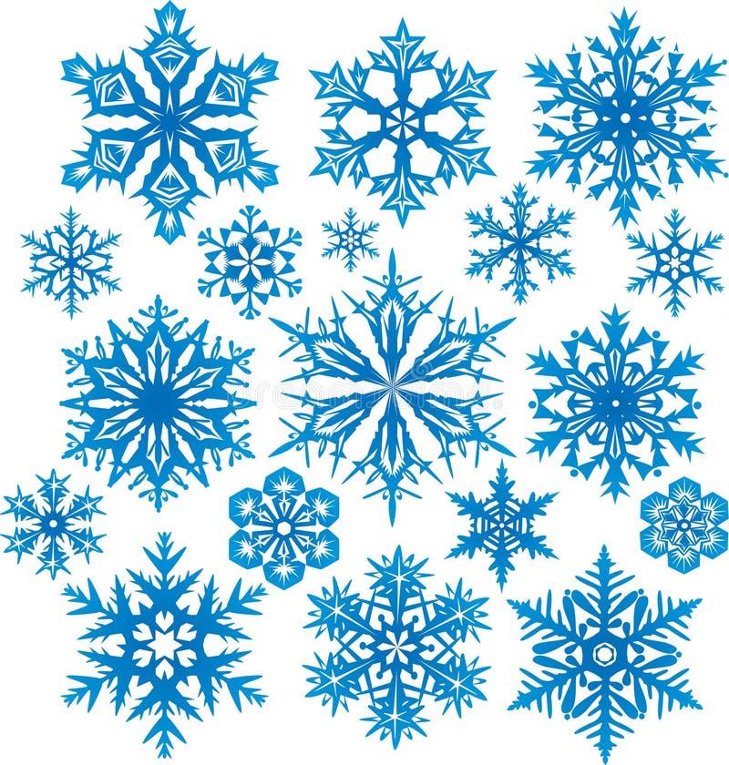 καθορισμένο snowflakes διάνυσμα διανυσματική απεικόνιση