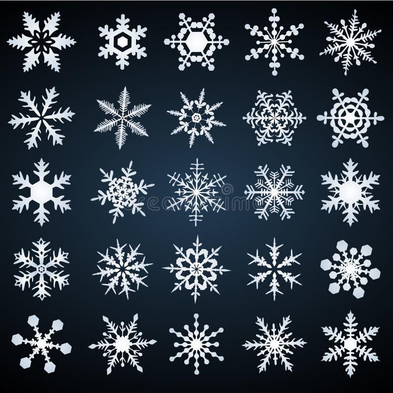 καθορισμένο snowflakes διάνυσμα ελεύθερη απεικόνιση δικαιώματος