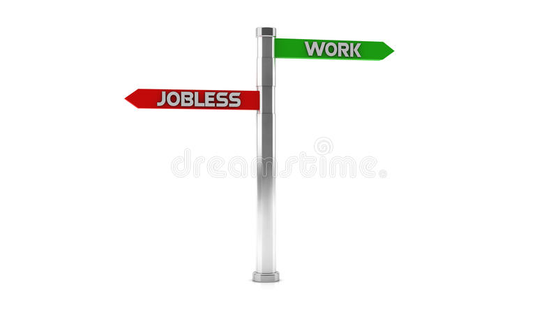 Καθοδηγήστε με τα joblees και την εργασία σε τρισδιάστατο ελεύθερη απεικόνιση δικαιώματος