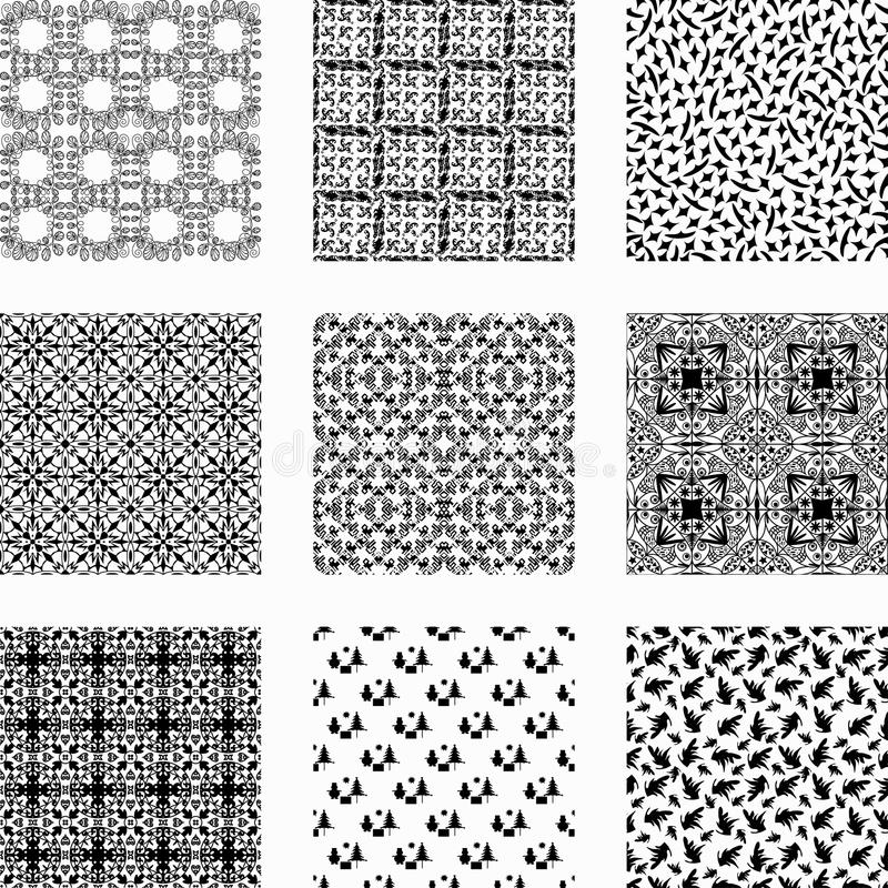 9 καθολικά διαφορετικά διανυσματικά άνευ ραφής σχέδια απεικόνιση αποθεμάτων