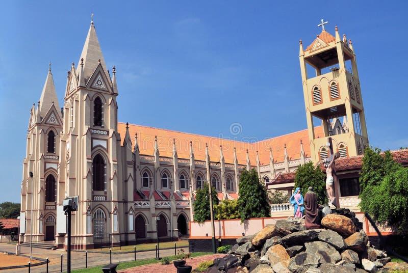 Καθολική εκκλησία με τους πύργους σε Negombo, Σρι Λάνκα στοκ φωτογραφίες