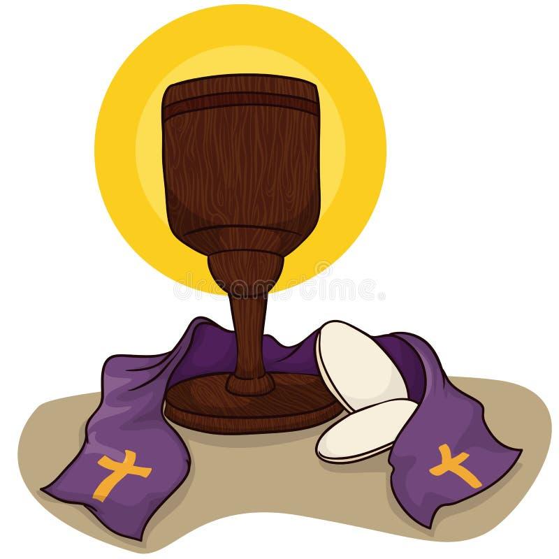 Καθολικός κάλυκας με τα ψωμιά κοινωνίας και την εσάρπα, διανυσματική απεικόνιση διανυσματική απεικόνιση