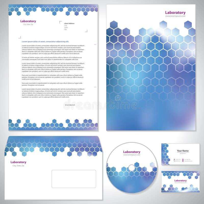 Καθολικό σκούρο μπλε εταιρικό πρότυπο ταυτότητας. απεικόνιση αποθεμάτων