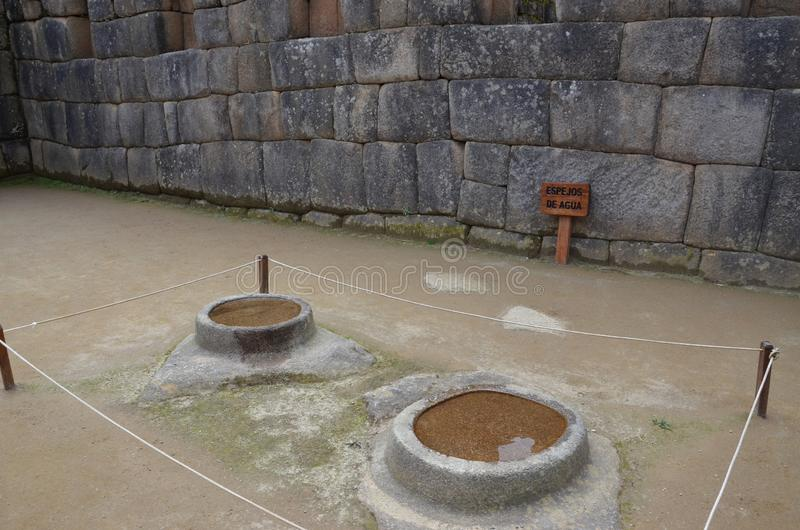 Καθρέφτης νερού σε Machu Picchu στοκ φωτογραφίες με δικαίωμα ελεύθερης χρήσης