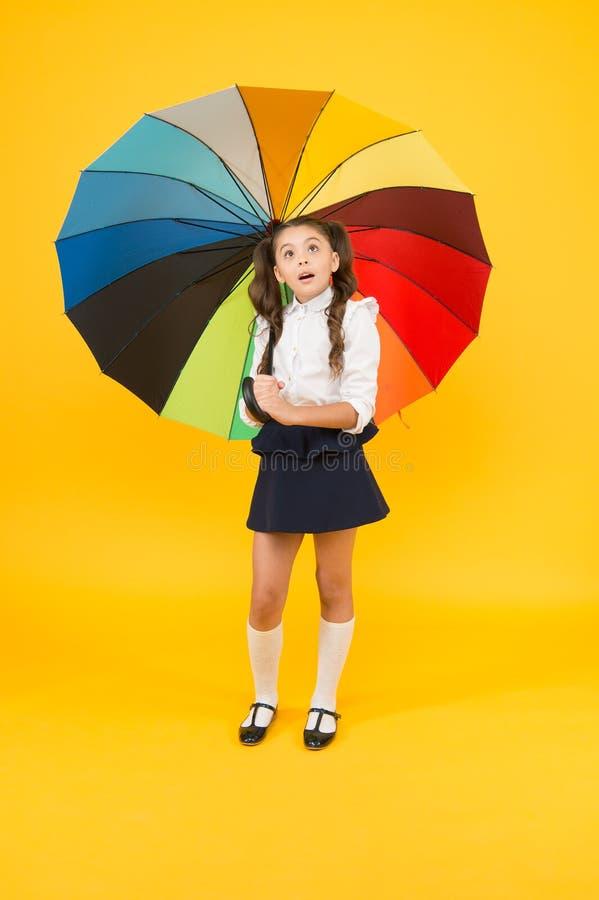 Καθ' οδόν για το σχολείο Αξεσουάρ μόδας Βροχερός σεπτέμβριος Αξεσουάρ για βροχερή ημέρα Φανταχτερή μαθήτρια Κορίτσι με ομπρέλα στοκ φωτογραφία με δικαίωμα ελεύθερης χρήσης