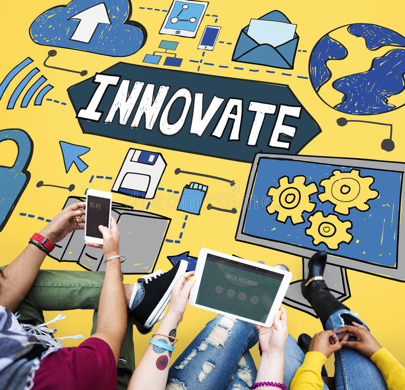 Καινοτομήστε έννοια δικτύων σύνδεσης τεχνολογίας καινοτομίας στοκ εικόνα