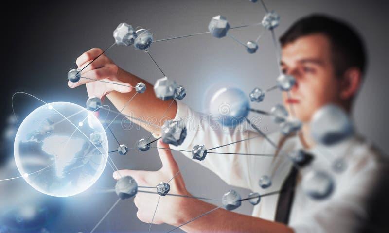 Καινοτόμες τεχνολογίες στην επιστήμη και την ιατρική Τεχνολογία που συνδέει Η έννοια της ασφάλειας στοκ εικόνα